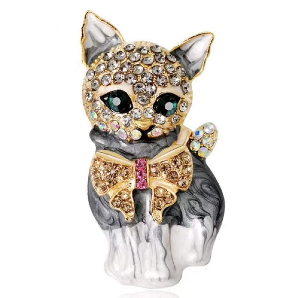 Meoliny Women's Rhinestones Cat Lapel Pins Plump Crystal 3D Cat Pet Enamel Brooch Adorable Kitten Sweater Brooch