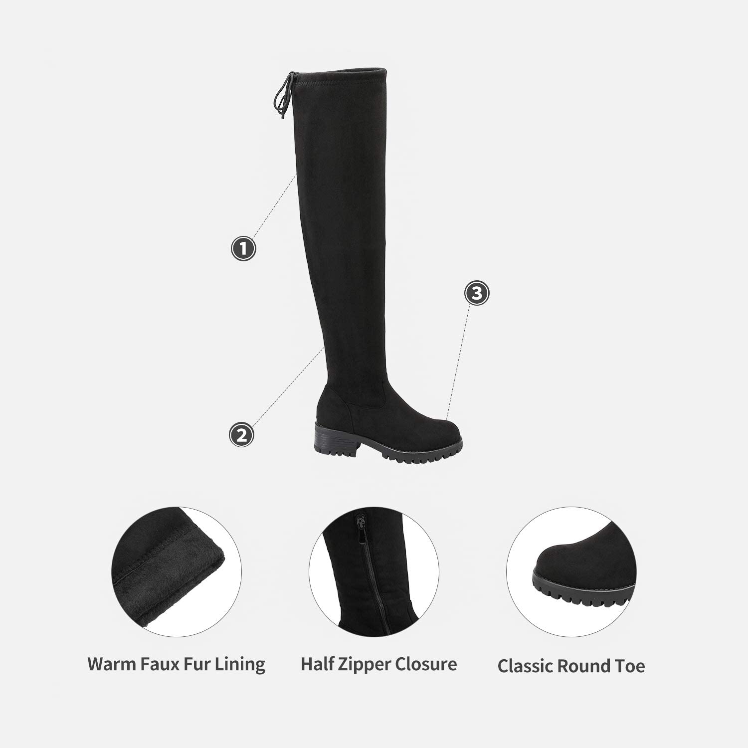 DREAM PAIRS Womens Fashion Over The Knee Chunky High Heel Thigh High Boots