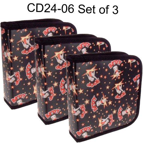 Set of 3 Lenticular 24 Slot CD Case Wallet - Betty Boop Kick