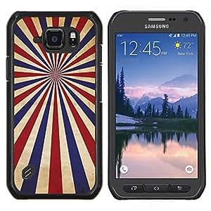 Qstar Arte & diseño plástico duro Fundas Cover Cubre Hard Case Cover para Samsung Galaxy S6Active Active G890A (Psicodélico rojo azul de rayas)