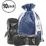 "Medium Premium Fabric Gift Bags (Pack of 10) Organza with Lining Satin Ribbon Holiday Christmas - Blue Polka Dot Print – 15"" x 10.5"" for Medium Size Gifts Like Gift Sets, Home Decor and Handbags"