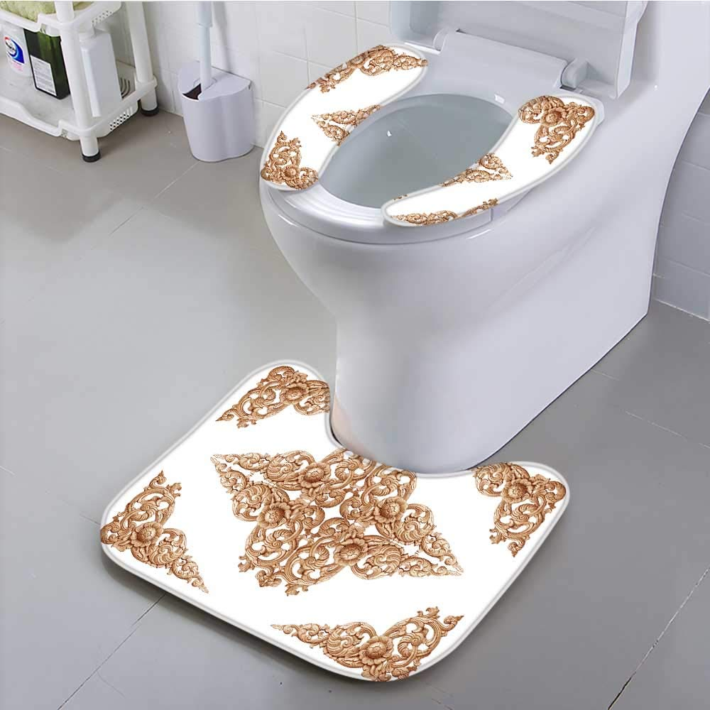 Jiahonghome Use The Toilet seat Pattern of Flower Carved on Wood for Decoration Isolated on White Background Non-Slip