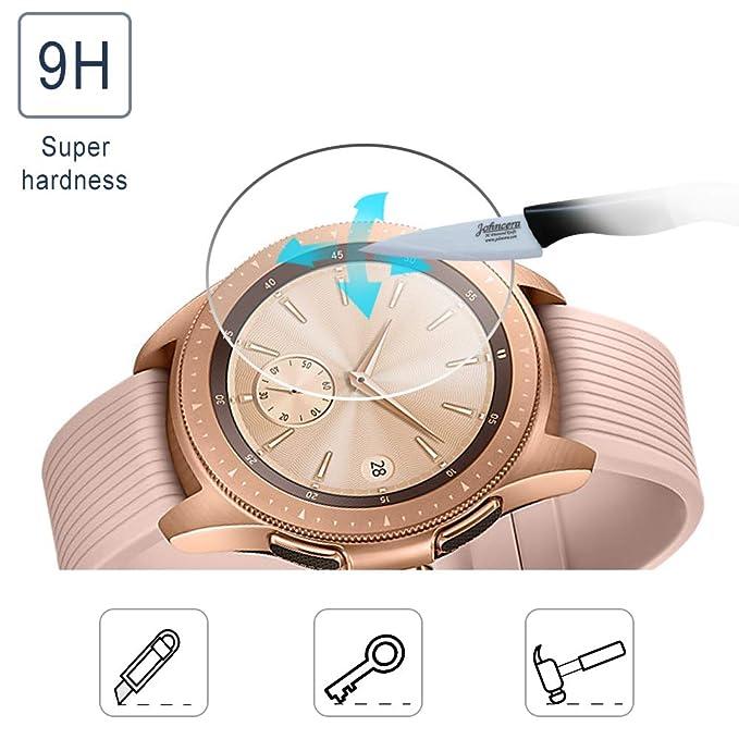 SPGuard compatible Protector pantalla Samsung Galaxy Watch 42 mm [Paquete 3], 2.5D/ 9H/ HD Anti-bubble resistente a los arañazos vidrio templado Protector ...