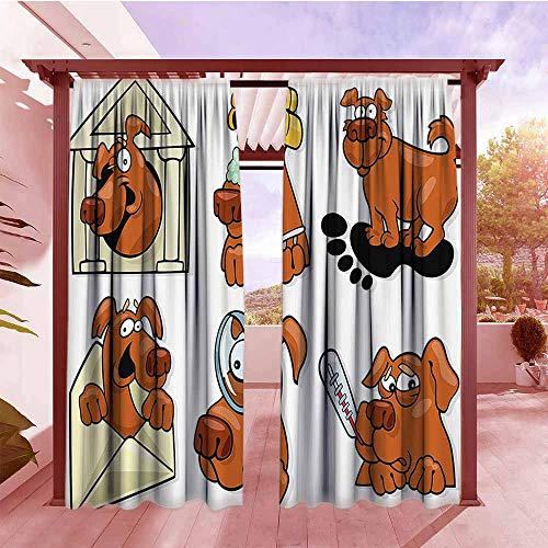 - Outdoor Rod Pocket Curtains Dog Lover Decor Collection Dog Actions Beauty Salon Spa Smiling Cheerful Looking Magnifying Illustration Energy Efficient, Darkening W84x108L Brown Black Yellow