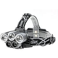 GuDoQi LED Lámpara de cabeza USB Recargable Lámpara de cabeza 3 * T6 + 2 * Cob 6 Modos E Impermeable para Camping, Senderismo, Ciclismo y Uso de Emergencia