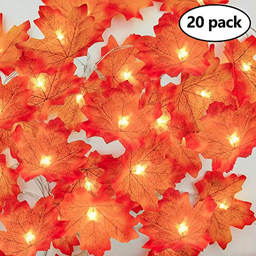 Maple Leaves String Lights, 10Ft 20pcs Warm White LED Fall Garlands String Lights, Battery Operated LED String Lights For Thanksgiving, Christmas, Party, Fall Events, Garden, Bedroom, Wedding Decor