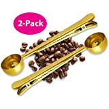 Coffee Scoop Clip - 2 PACK - GOLD - Coffee Spoon Clip - Tea Scoop Bag Clip - Coffee Bag Clip Scooper