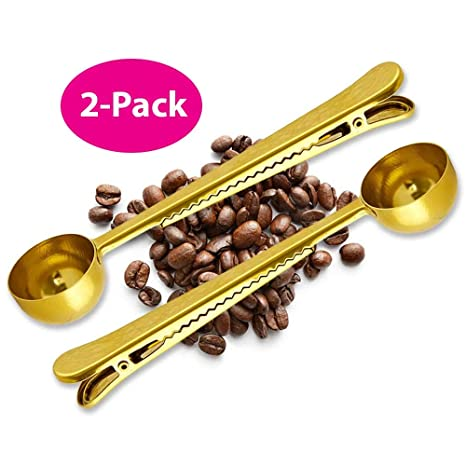Amazon.com: Cuchara de café Clip – Paquete de 2 – Oro ...