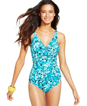 3ca8a8b16 Swim Solutions Women s Printed Twist-Front One-Piece Swimsuit Turquoise 20