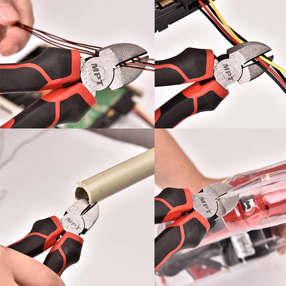 MPT Wire Cutter, Cut Pliers, Diagonal Cutting Pliers, Side Cutters, High Leverage, Angled Head, Standard Cut, Short Jaw, Heavy Duty Professional Quality, 7 inch Cutting Pliers Precision Flush Cutter