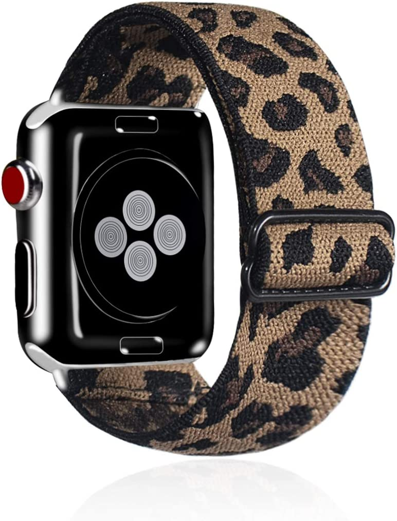 Kraftychix Adjustable Elastic Watch Band Compatible with Apple Watch 38mm/40mm,Soft Stretch Bracelet Women Strap Replacement Wristband for Iwatch Series SE/6/5/4/3/2/1(Leopard,38MM/40MM)