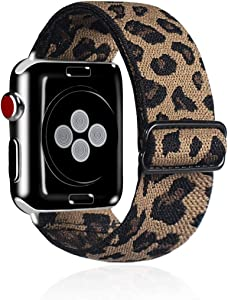 Kraftychix Elastic Watch Band Compatible with Apple Watch Band 38mm/40mm/42mm/44mm, Soft Stretch Bracelet Women Strap Replacement Wristband for Iwatch Series 5/4/3/2/1 (Leopard, 42MM/44MM)