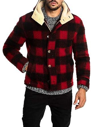 53de6d532 Enjoybuy Mens Winter Fleece Fur Lined Hooded Wool Jacket Full Zip ...