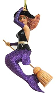 d6e462a0e December Diamonds Sabrina Mermaid Witch on Broom Halloween Ornament 5590842