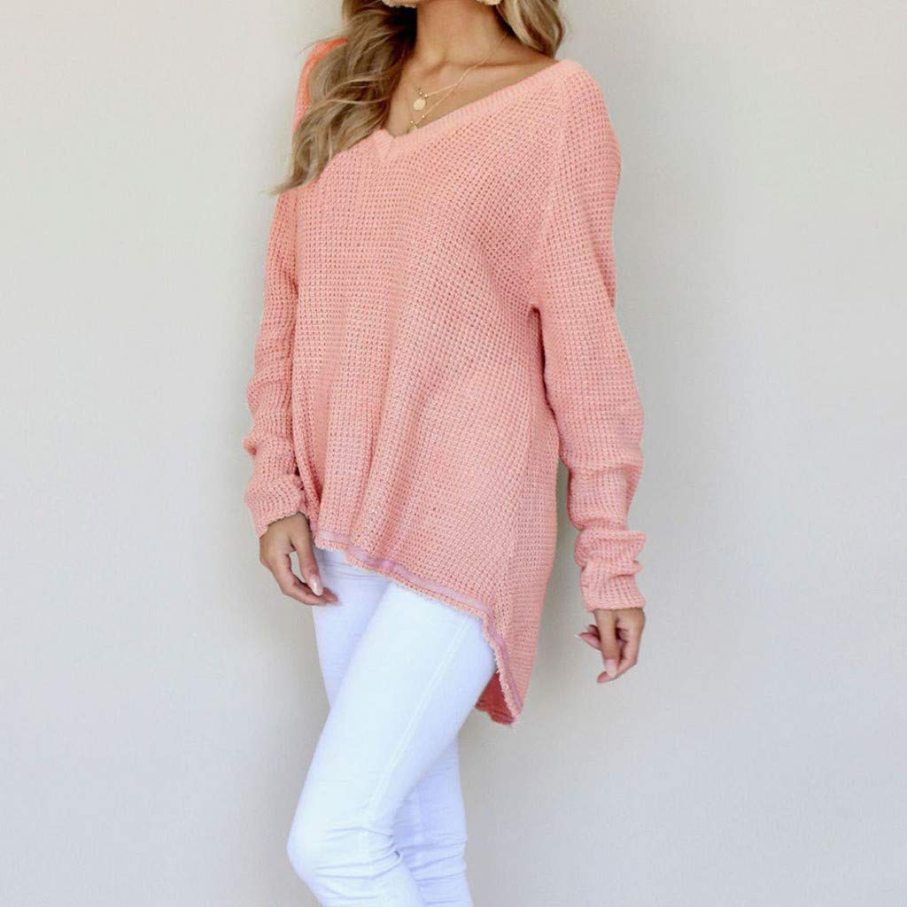 Pink,L Creazrise Womens Casual Hollow Knit Vneck Blouse Oversized Pullover Loose Tops Sweater
