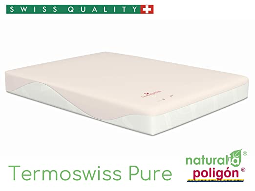 NATURALIA - Colchón termoswiss pure visco, talla 135x190cm, color blanco/rosa: Amazon.es: Hogar