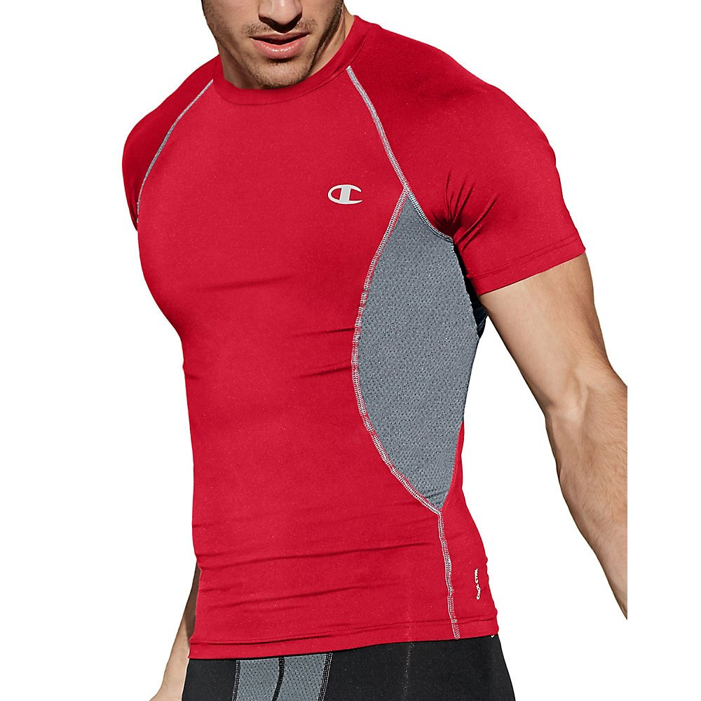 Champion Gear Men& 039;s Compression Short-Sleeve Tee_Scarlet Concrete_2XL