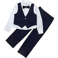Alvivi Traje Niños Pequeños para Bautizo Conjuntos de Top y Pantalónes Camisa Blanca Manga Larga+Chaleco Elegante Traje…