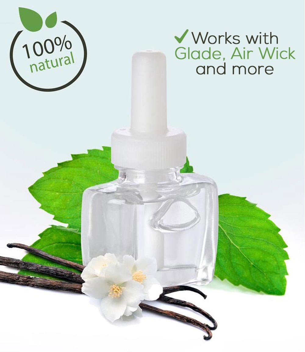 (3 Pack) Refills 100% Natural Vanilla Peppermint for Glade Air Wick Scented Oil Plug in Refill