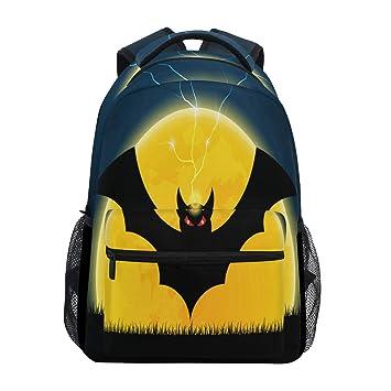 Mochila para portátil con diseño de murciélago de Halloween con luna, resistente al agua,