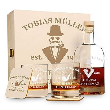 6 Set de whisky regalo en caja de madera New York Bar con grabado Motiv