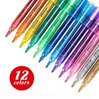 ZEYAR Glitter Paint Pens, Water Based, Fine Point, Set of 12, Multiple Colors, Great for Gift Card, Poster, Album, Christmas Card and more