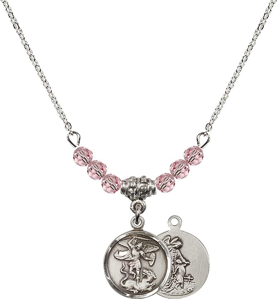 18-Inch Rhodium Plated Necklace with 4mm Light Rose Birthstone Beads and Sterling Silver Saint Michael the Archangel Charm.