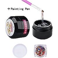 MEILIND Nail Art Rhinestone Glue Super Sticky Gems Gel Bead Adhesive Polish Builder Decoration With Pen Tools 15ml(UV Light Cure Needed)