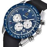 Mens' watches Chronograph Sport Watch Waterproof Date Quartz Wrist Watch in Black Silicone Band