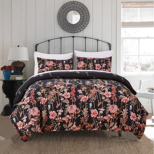 (Fire Kirin Floral Duvet Cover Set with Zipper Closure, Red Botanical Flowers Pattern Printed on Black Bedding Sets Comforter Cover)