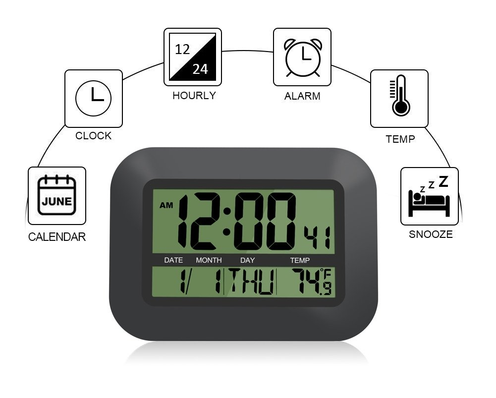 HeQiao Digital Wall Clock, Decorative Silent Desk Clock Simple Stylish Battery Operated Easy to Read Large LCD Alarm Clock with Calendar Temperature Snooze for Home Office (12 Inch, Night Black)