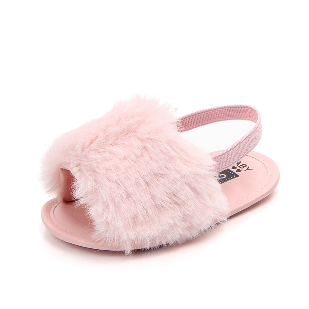 HONGTEYA Baby Girls Sandals Soft Soled Faux Fur Infant Toddler Summer Baby Moccasins Shoes Slippers (0-6 Months/4.33'', Pink)