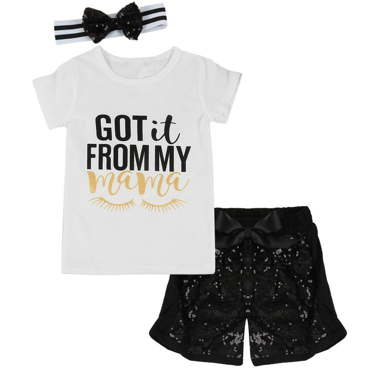 Puseky Toddler Baby Girls Mama T-shirt+Sequined Shorts+Headband 3pcs Outfits Set (2T-3T, White+Black)