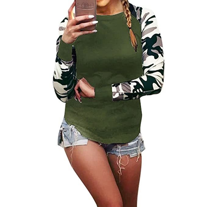 Tops Mujer Tamaño Más - Blusas Camuflaje Tshirts Manga Larga Camisas Cuello Redondo Pullover Otoño Invierno
