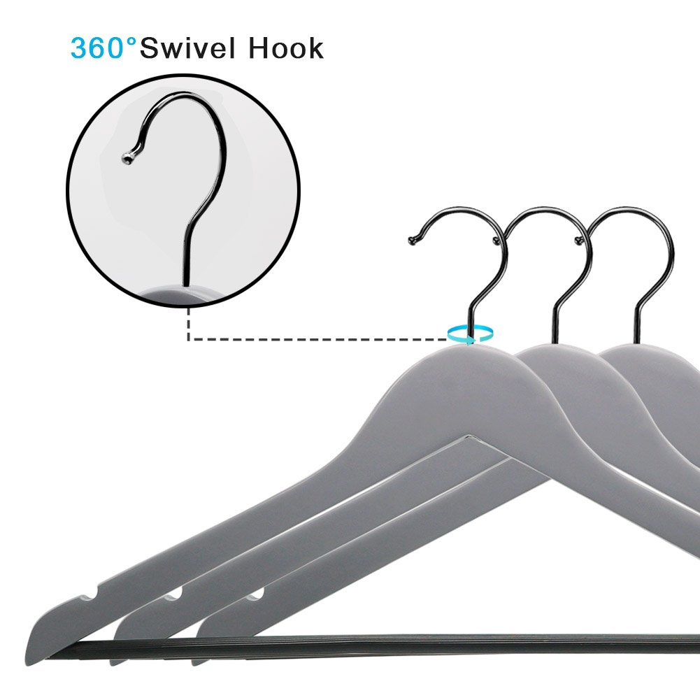 Perfecasa Grade A Solid Wood Hangers 20 Pack, Suit Hangers, Coat Hangers, Premium Quality Wooden Hangers (Gray) by Perfecasa (Image #4)