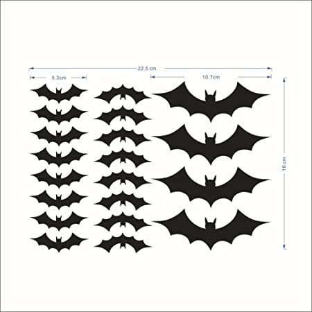 20pcs Negro extraíble de murciélagos bate vinilo para ventana sala ...