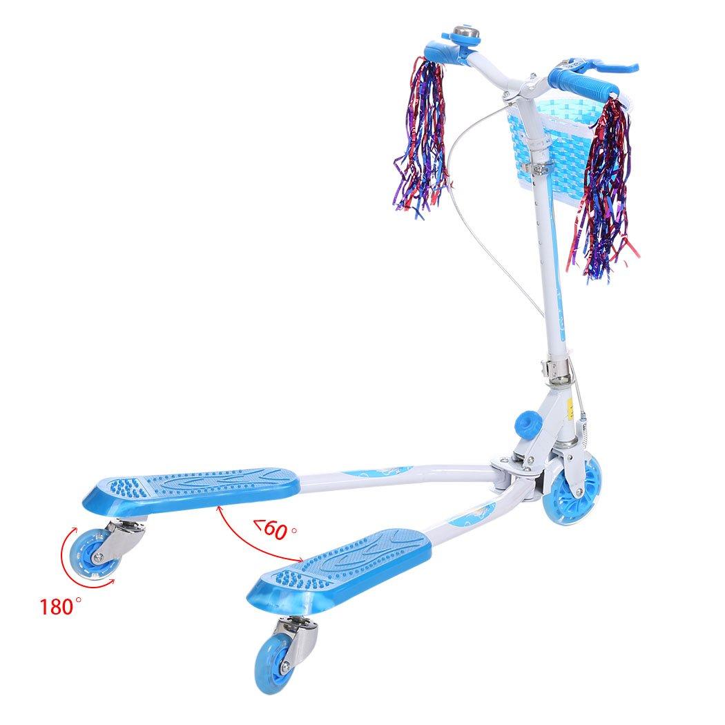 FastDirect Speeder Patinete Y-Fliker plegable con 3 ruedas de luces para los niños más de 5 años la Altura ajustable Scooter con una Cesta y un Timbre ...