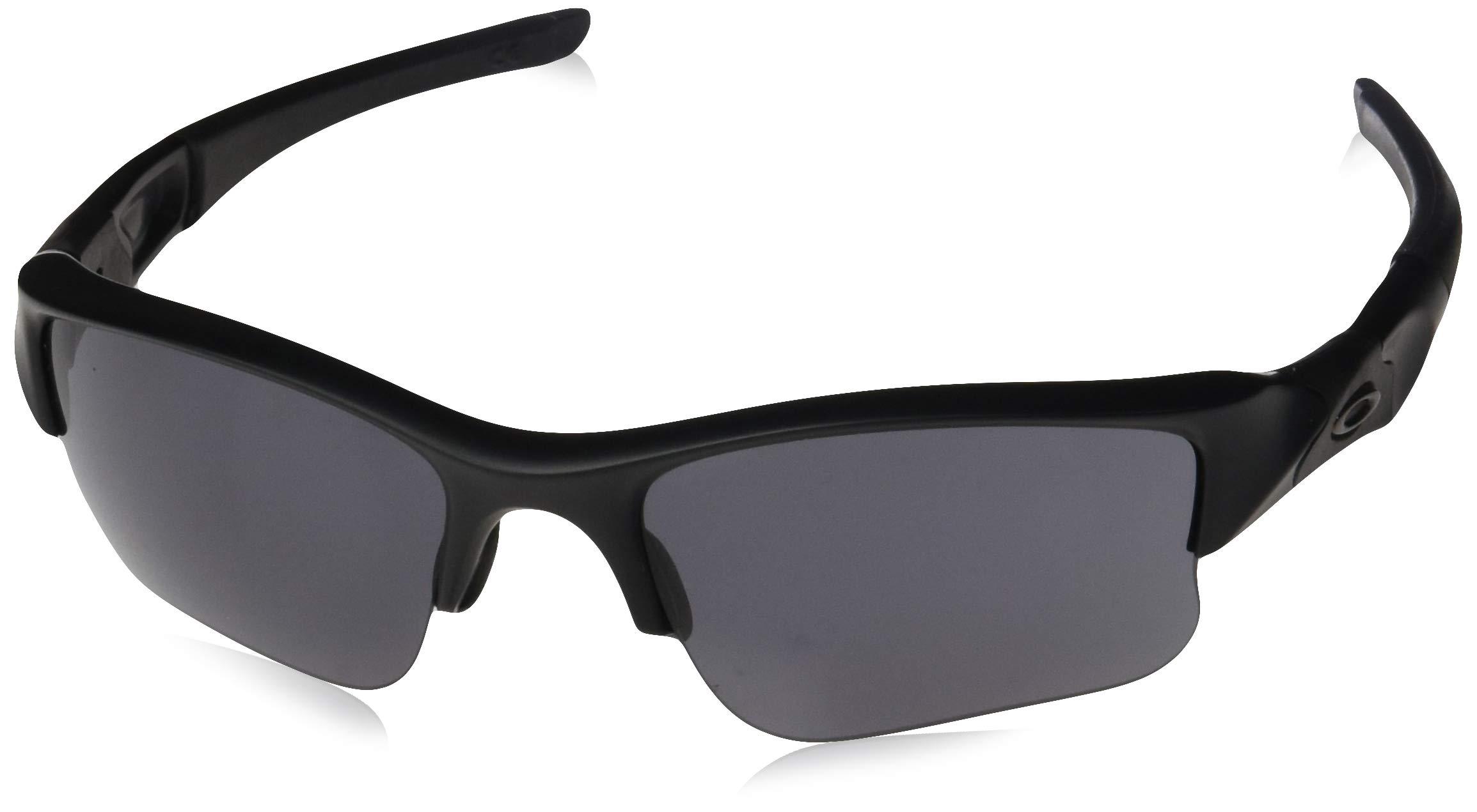 Oakley Men's OO9009 Flak Jacket XLJ Rectangular Sunglasses, Matte Black/Grey, 63 mm by Oakley