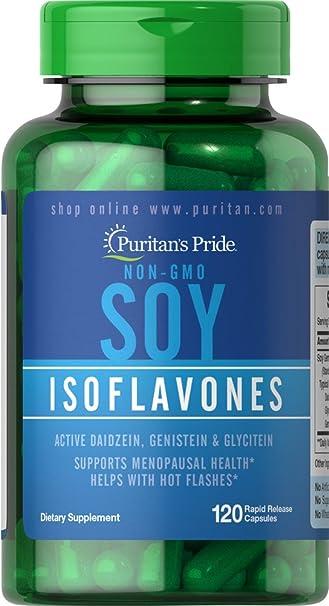 Kết quả hình ảnh cho Puritan's Pride Non-GMO Soy Isoflavones 750 mg