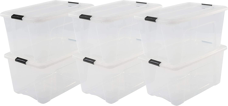 Iris Ohyama New Top Box NTB-45 - Lote de 6 cajas apilables de almacenamiento, Transparente, 45 L