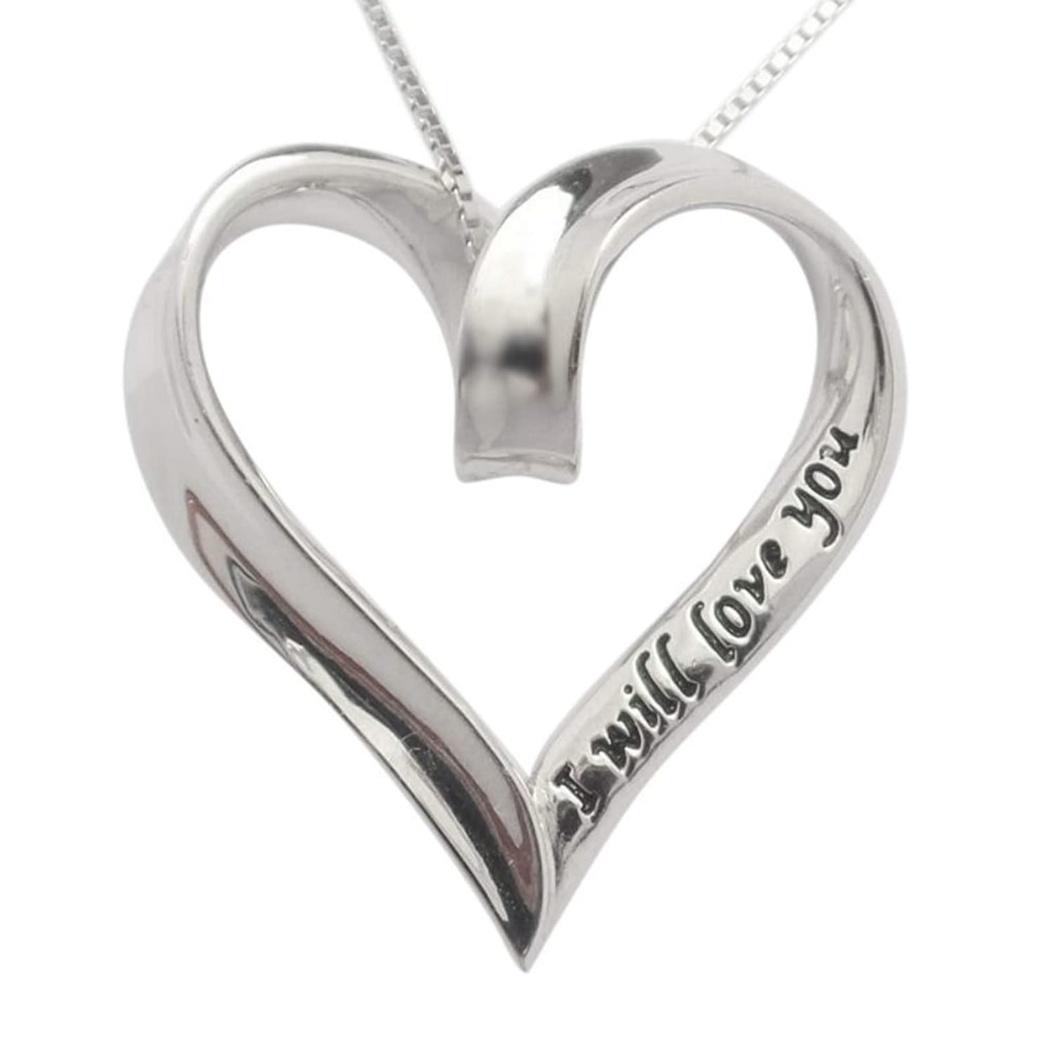 """925 Sterling Silver I Will Love You Always & Forever Heart Necklace 18"""" Chain Gift By Trulycharming"""