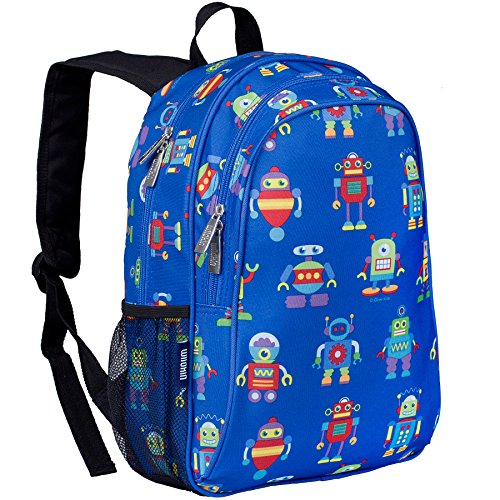 Robot Backpack - Wildkin 15 Inch Specialty Backpack, Durable Backpack with Padded Straps, Moisture-Resistant Lining, and Mesh Side Pocket, Perfect for School or Travel, Olive Kids Design – Robots
