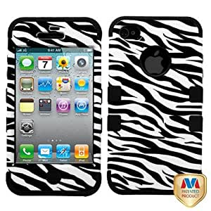Black White Zebra Hard Soft Gel Dual Layer Cover Case for Apple iPhone 4 4S F84T