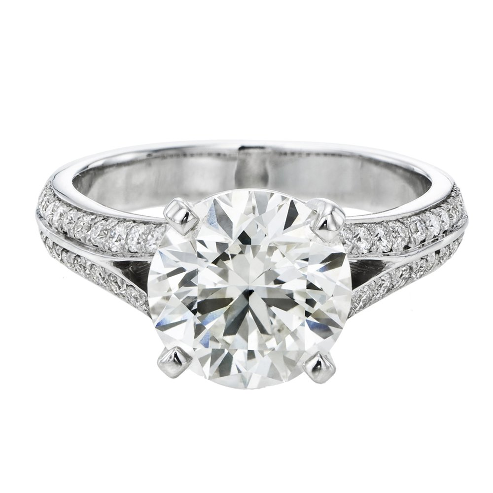 Moissanite Forever One Engagement Ring in 14k Gold 8.00MM 1.60CT D-F VVS (Equivalent 2.00CT Diamond Weight) With Side Diamonds-9