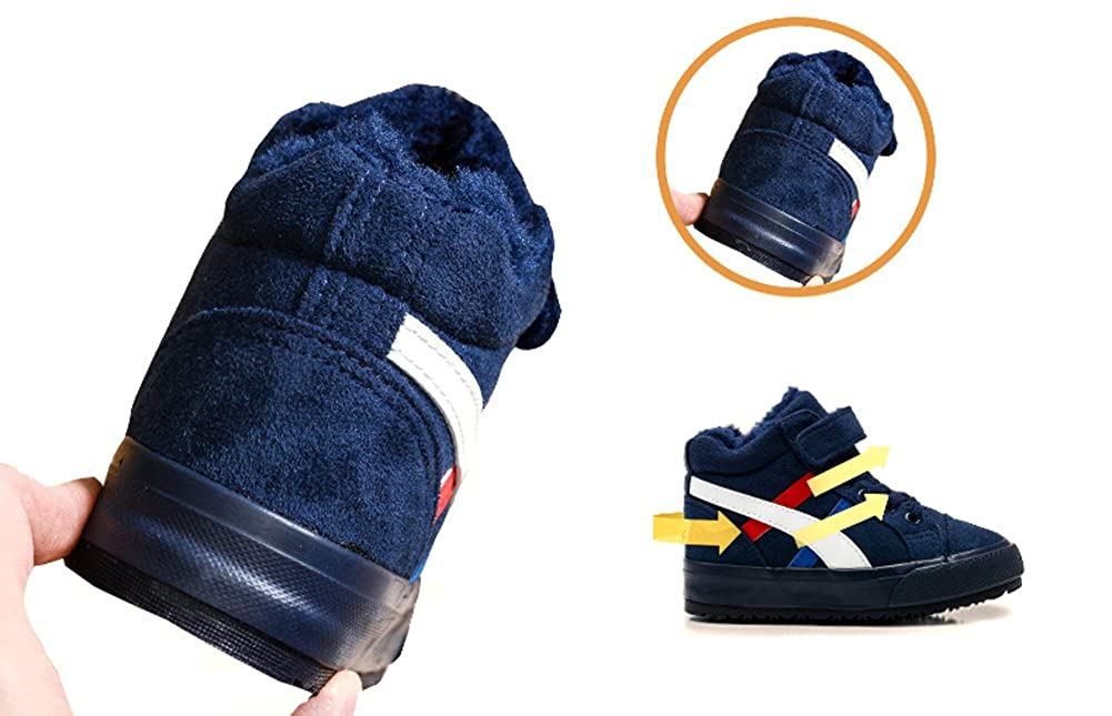 Toddler//Little Kid//Big Kid VECJUNIA Boys Girls Plush High Top Sneaker Classic Strap Cold Weather Shoes