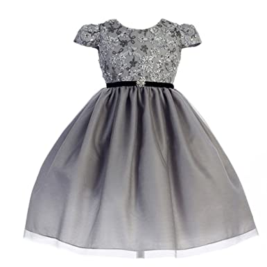 f93ba7dd96ce Crayon Kids Little Girls Silver Sequin Floral Embroidered Christmas Dress 5/ 6
