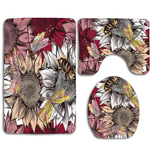 RiuianaBVCc Flowers Wallpaper, Bees and Dragonfly on Rustic Fields Floral Toilet Lid Cover Cushion Pad Skidproof Bath Mat Rug for Toilet ()
