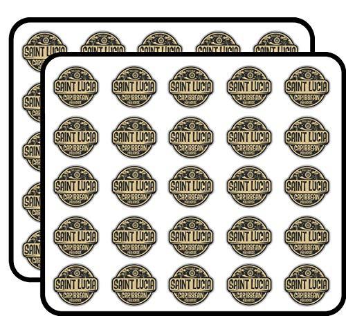 (Saint Lucia Welcome Label Art Decor Sticker for Scrapbooking, Calendars, Arts, Kids DIY Crafts, Album, Bullet Journals 50 Pack)