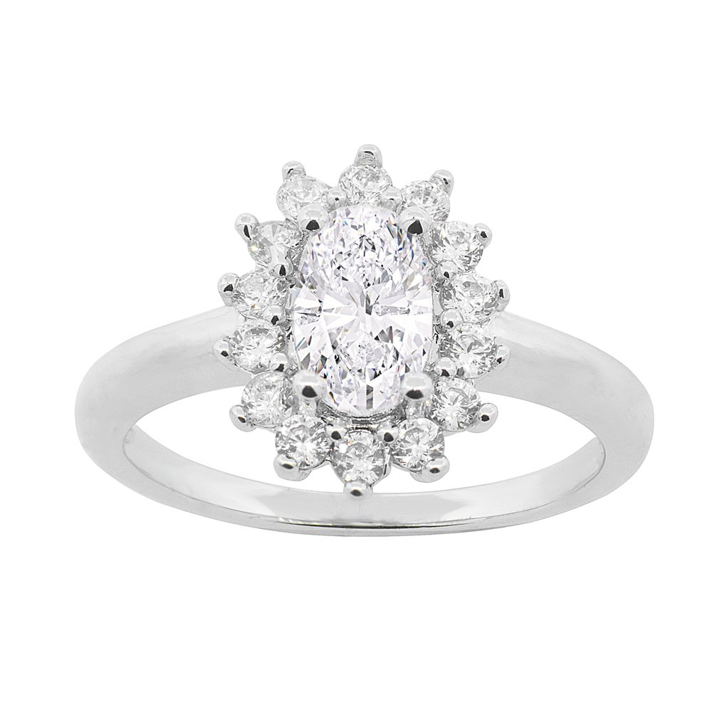 Cate & Chloe Sage 18k White Gold Halo Engagement Ring, Twilight Sparkle Round Cut Simulated Diamond CZ Ring, Classic Sparkling Halo Cluster Promise Ring, Fashion Statement Jewelry - MSRP 150