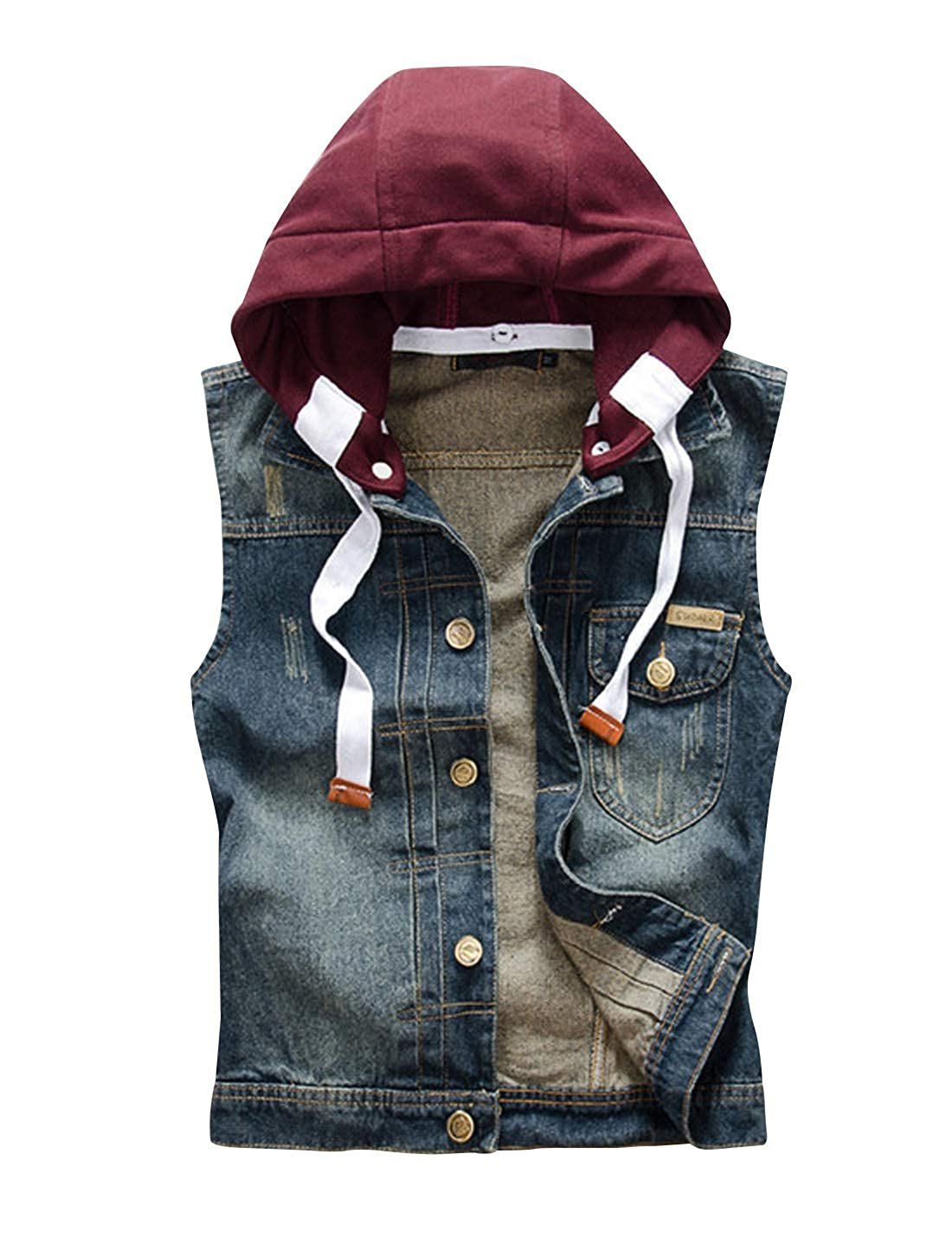HUPOO Mens Vintage Removable Hoodie Sleeveless Denim Jean Vests Coats
